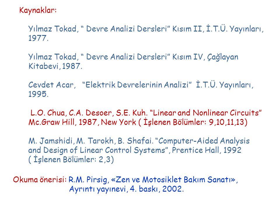 Kaynaklar: Yılmaz Tokad, Devre Analizi Dersleri Kısım II, İ.T.Ü. Yayınları, 1977. Yılmaz Tokad, Devre Analizi Dersleri Kısım IV, Çağlayan.