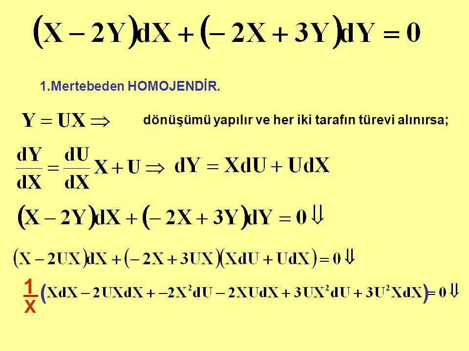 1 ( ) X 1.Mertebeden HOMOJENDİR.