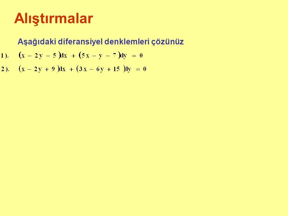 Alıştırmalar Aşağıdaki diferansiyel denklemleri çözünüz