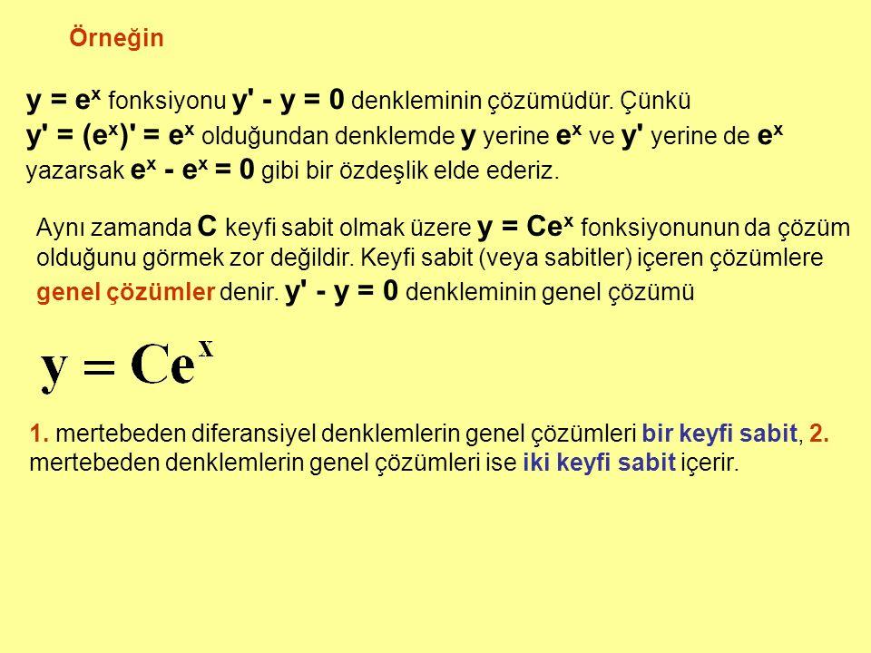 y = ex fonksiyonu y - y = 0 denkleminin çözümüdür. Çünkü