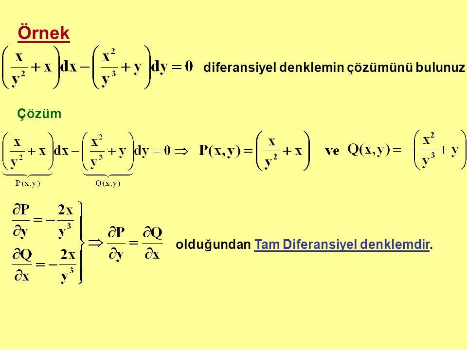 Örnek diferansiyel denklemin çözümünü bulunuz Çözüm