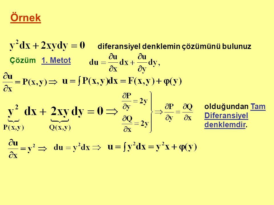 Örnek diferansiyel denklemin çözümünü bulunuz Çözüm 1. Metot