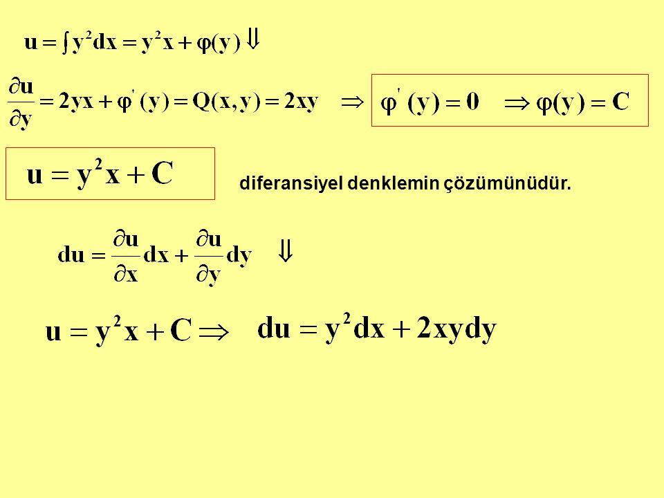 diferansiyel denklemin çözümünüdür.
