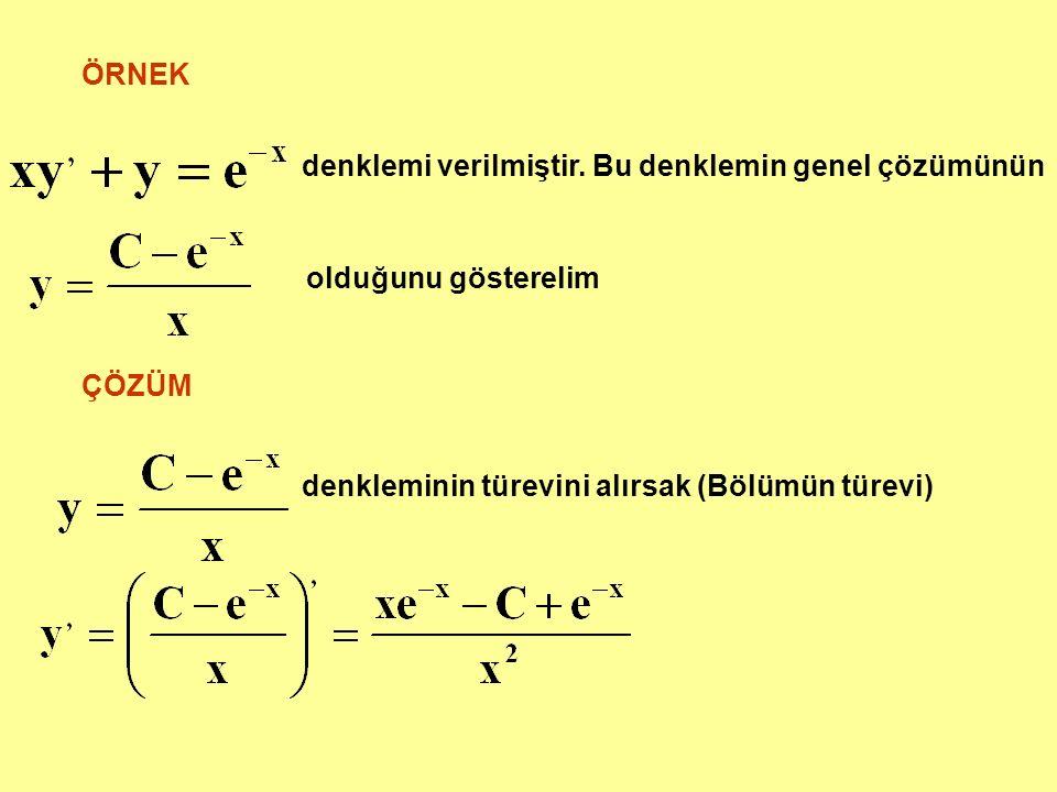 ÖRNEK denklemi verilmiştir. Bu denklemin genel çözümünün.