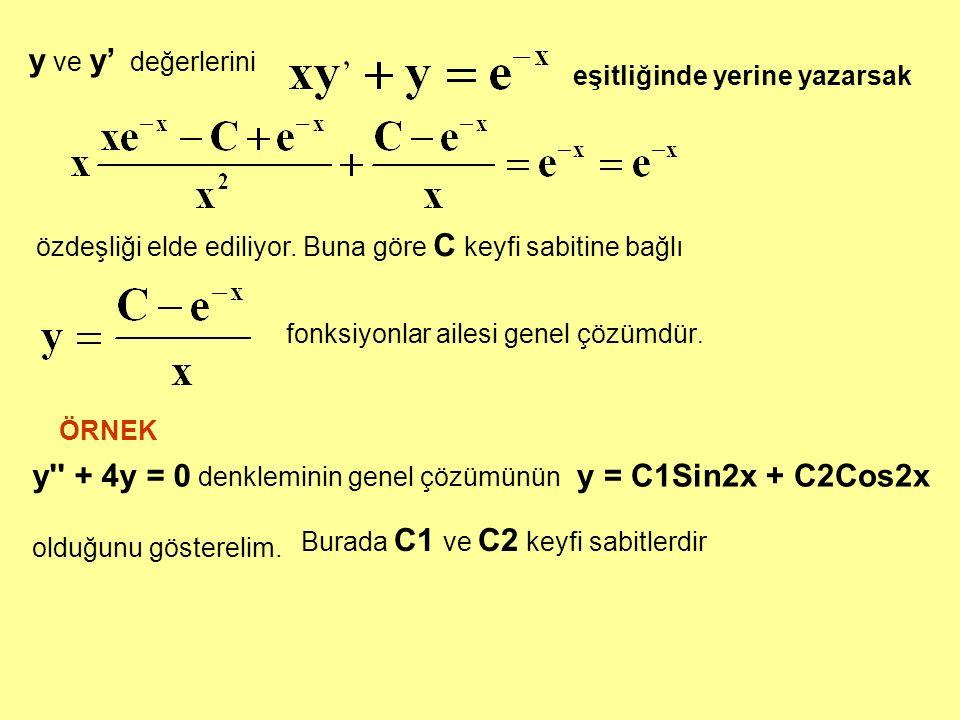 y + 4y = 0 denkleminin genel çözümünün y = C1Sin2x + C2Cos2x