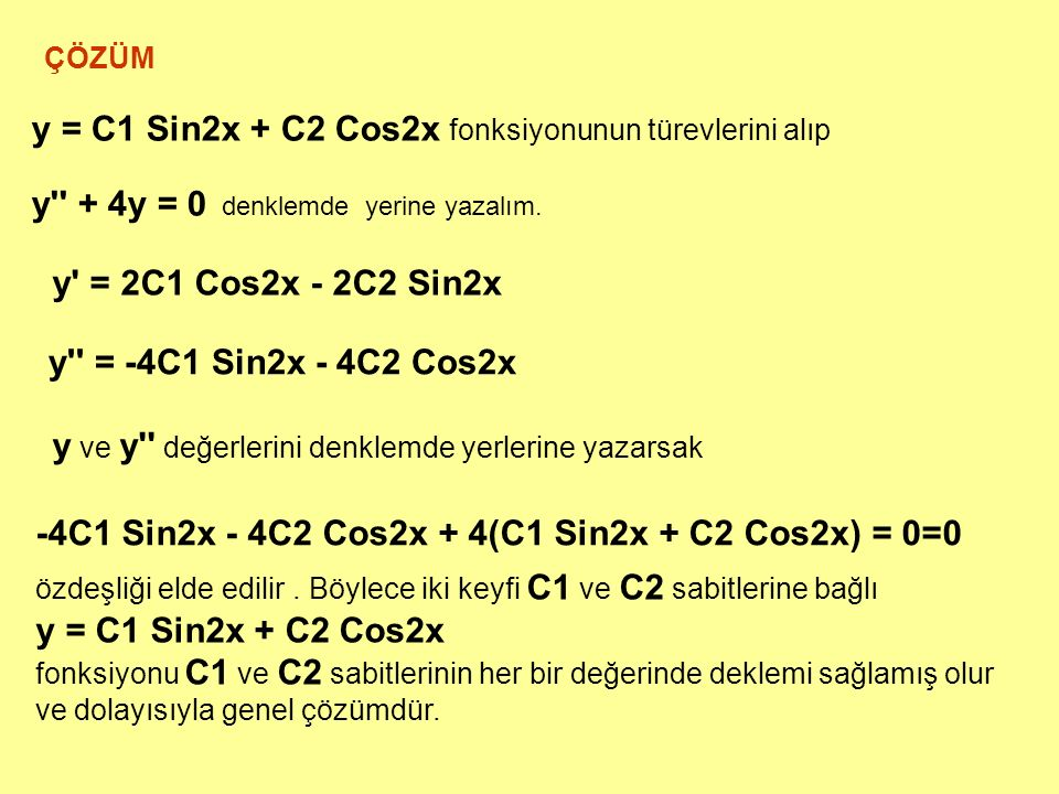 y = C1 Sin2x + C2 Cos2x fonksiyonunun türevlerini alıp