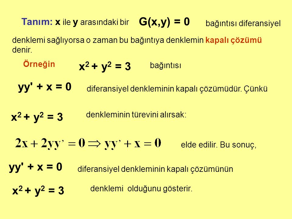 G(x,y) = 0 x2 + y2 = 3 yy + x = 0 x2 + y2 = 3 yy + x = 0 x2 + y2 = 3
