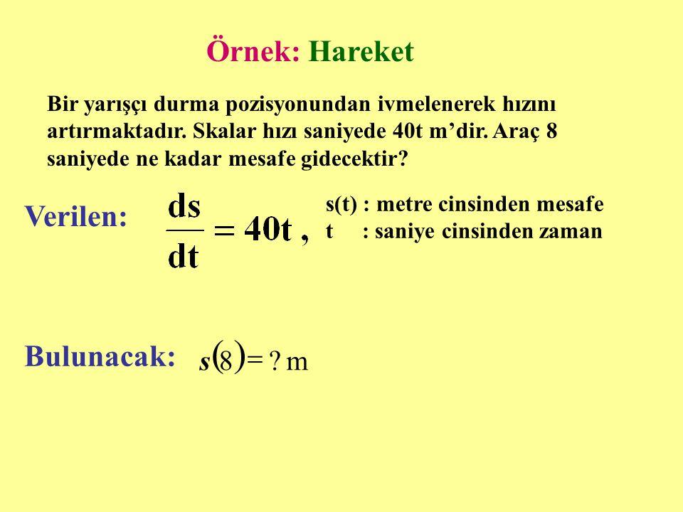 ( ) Örnek: Hareket Verilen: Bulunacak: m 8 = s