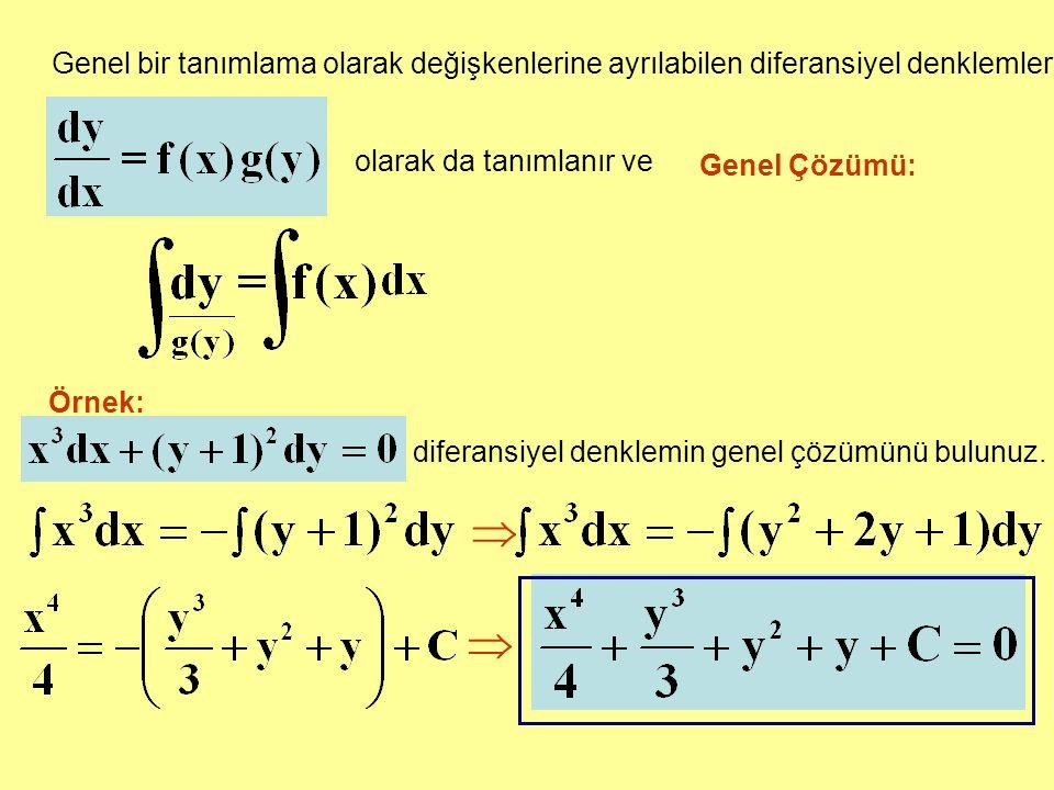 Genel bir tanımlama olarak değişkenlerine ayrılabilen diferansiyel denklemler
