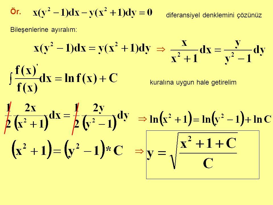    Ör. diferansiyel denklemini çözünüz Bileşenlerine ayıralım: