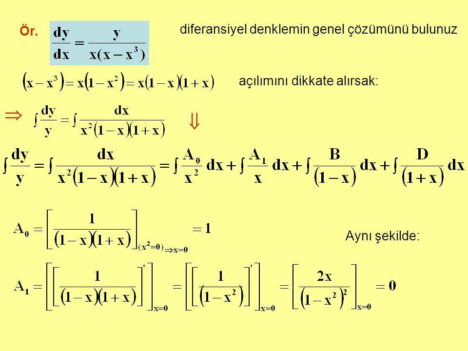   diferansiyel denklemin genel çözümünü bulunuz Ör.