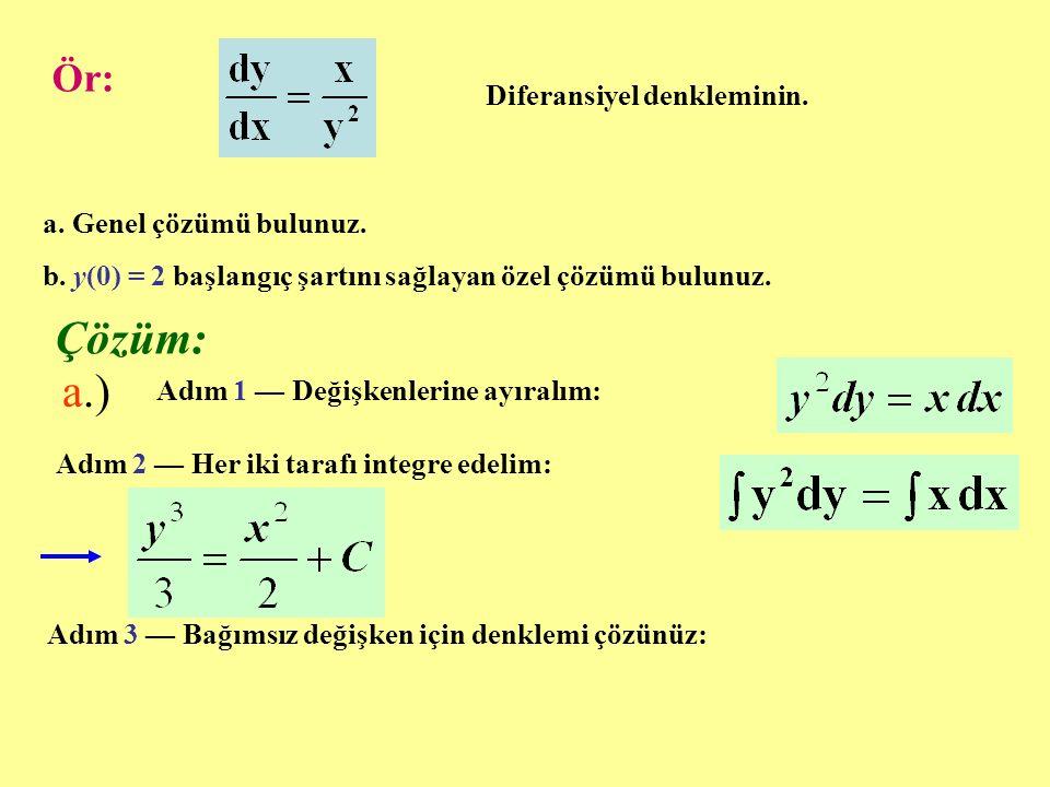 Çözüm: a.) Ör: Diferansiyel denkleminin. a. Genel çözümü bulunuz.