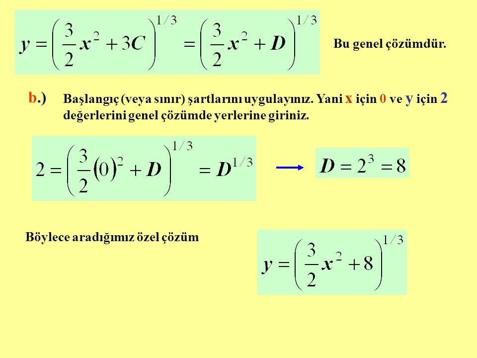 Bu genel çözümdür. b.) Başlangıç (veya sınır) şartlarını uygulayınız. Yani x için 0 ve y için 2 değerlerini genel çözümde yerlerine giriniz.