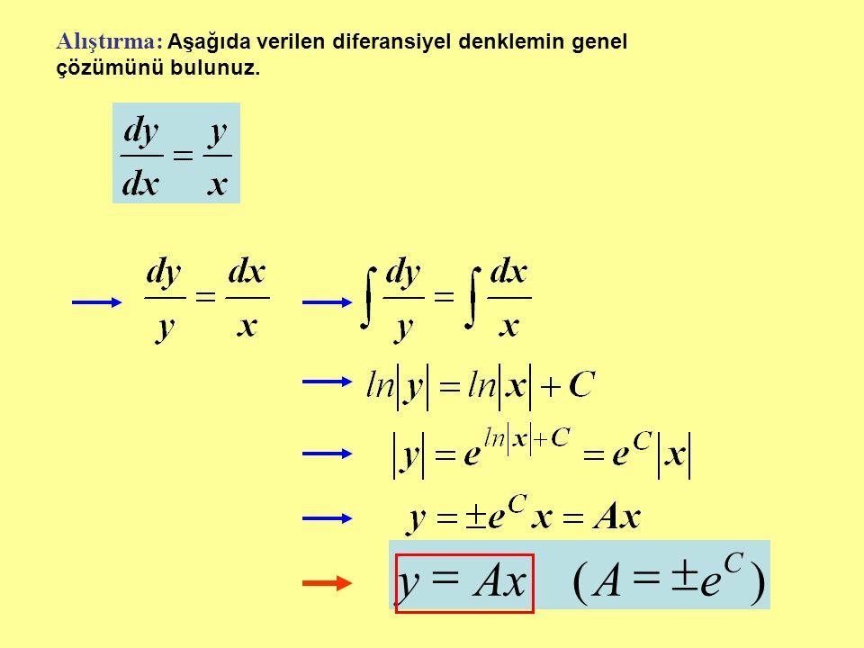 Alıştırma: Aşağıda verilen diferansiyel denklemin genel çözümünü bulunuz.