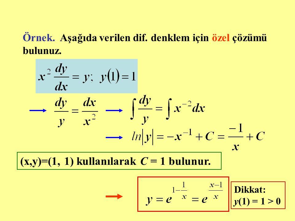 (x,y)=(1, 1) kullanılarak C = 1 bulunur.