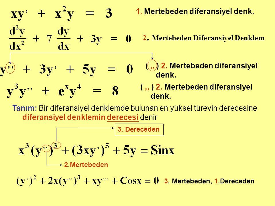 1. Mertebeden diferansiyel denk.