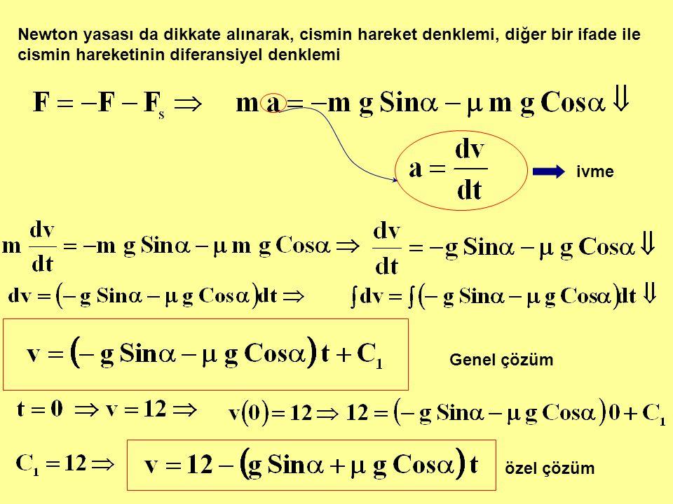 Newton yasası da dikkate alınarak, cismin hareket denklemi, diğer bir ifade ile cismin hareketinin diferansiyel denklemi