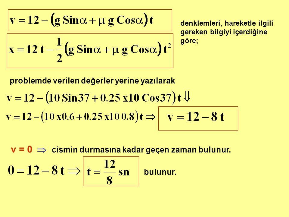 v = 0  cismin durmasına kadar geçen zaman bulunur.