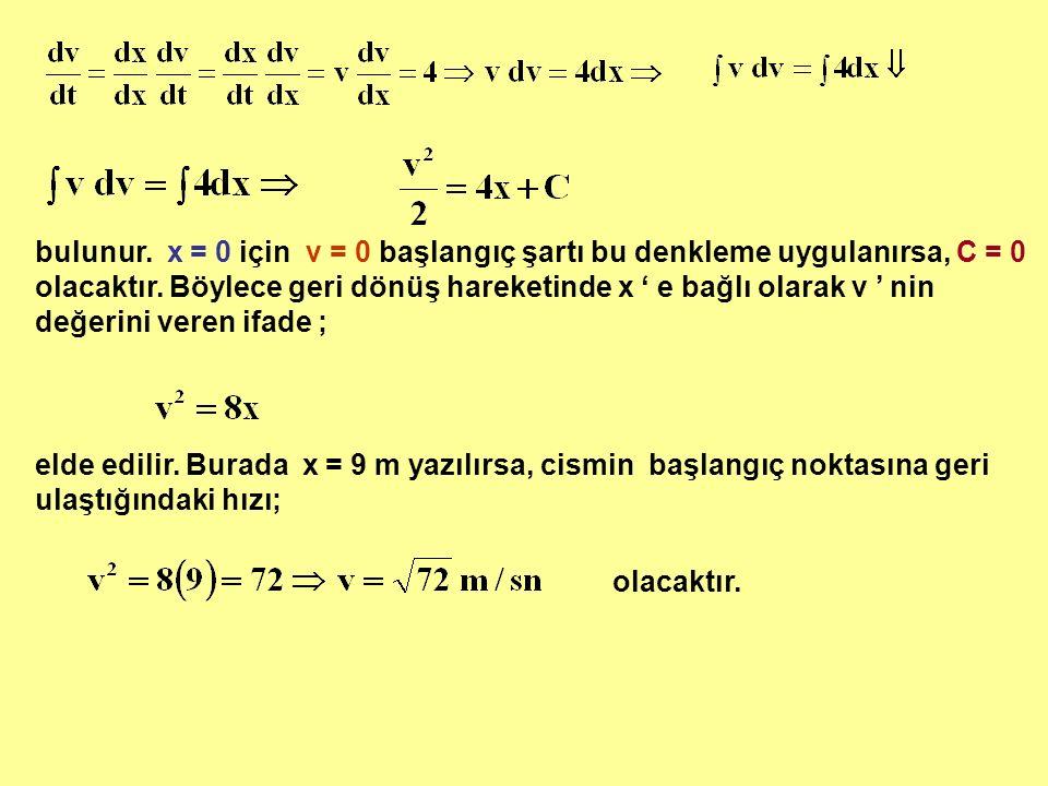 bulunur. x = 0 için v = 0 başlangıç şartı bu denkleme uygulanırsa, C = 0 olacaktır. Böylece geri dönüş hareketinde x ' e bağlı olarak v ' nin değerini veren ifade ;