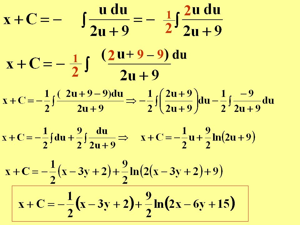 2 1 2 ( + 9 – 9) du 2 1 2