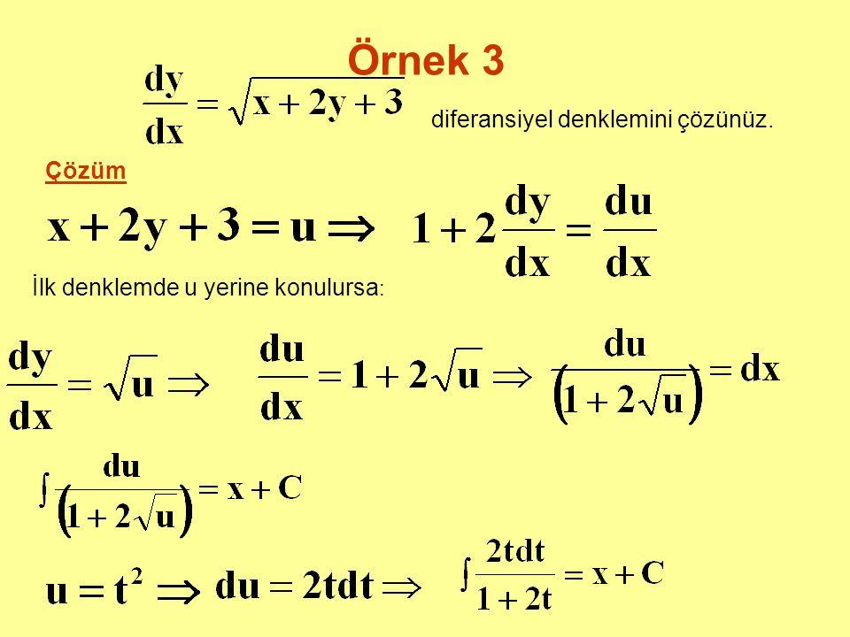 Örnek 3 diferansiyel denklemini çözünüz. Çözüm