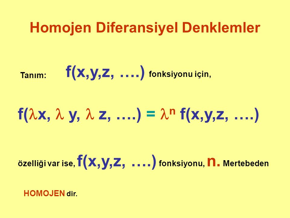 Homojen Diferansiyel Denklemler
