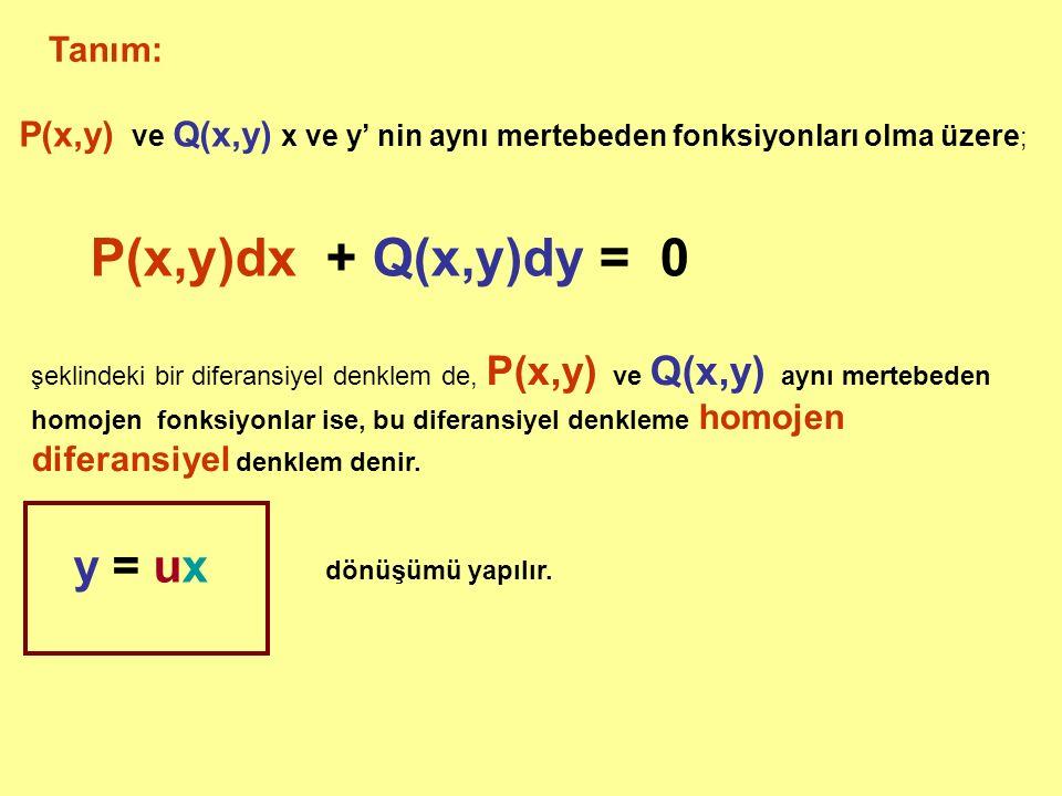 P(x,y)dx + Q(x,y)dy = 0 y = ux Tanım: