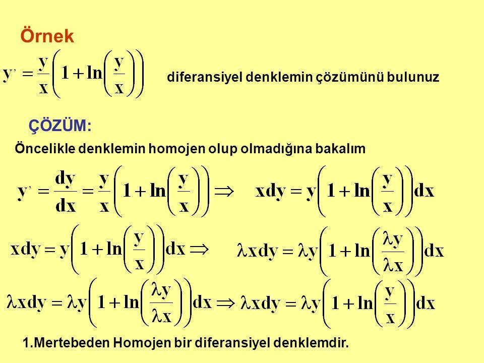 Örnek ÇÖZÜM: diferansiyel denklemin çözümünü bulunuz