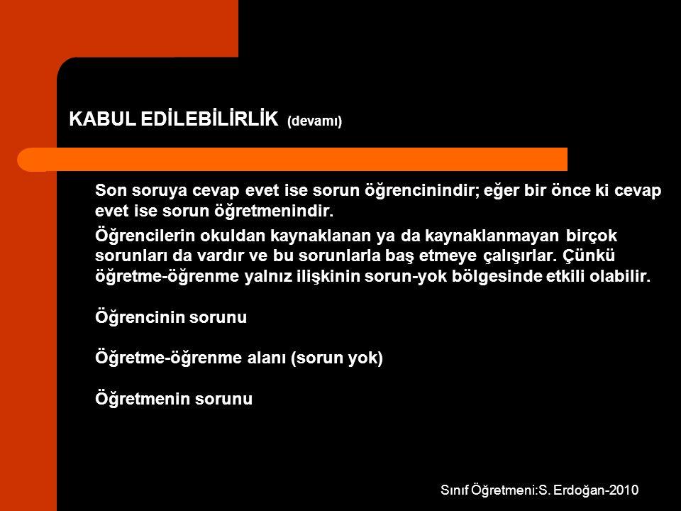KABUL EDİLEBİLİRLİK (devamı)