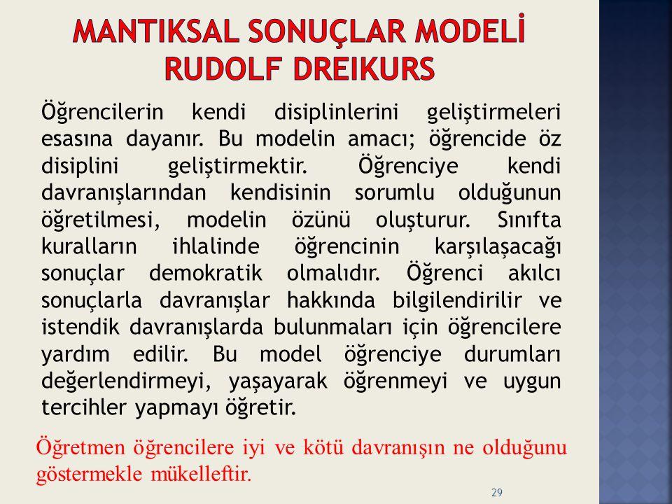 MANTIKSAL SONUÇLAR MODELİ Rudolf Dreikurs