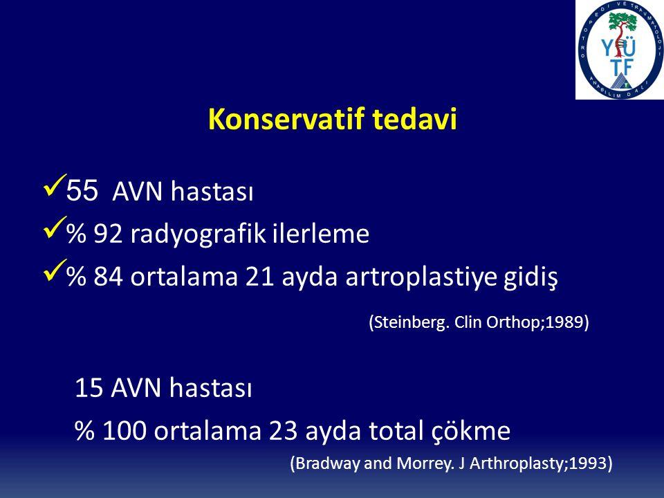 Konservatif tedavi 55 AVN hastası % 92 radyografik ilerleme