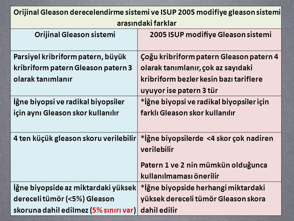 Orijinal Gleason sistemi 2005 ISUP modifiye Gleason sistemi
