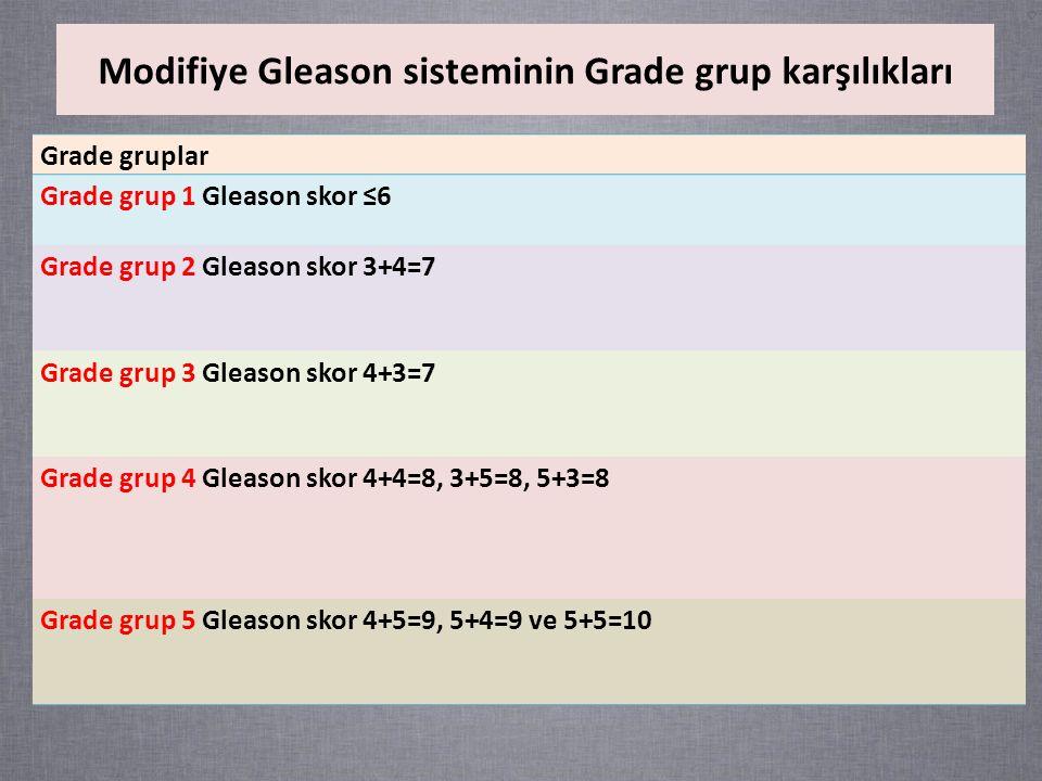Modifiye Gleason sisteminin Grade grup karşılıkları