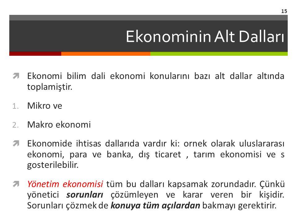 Ekonominin Alt Dalları