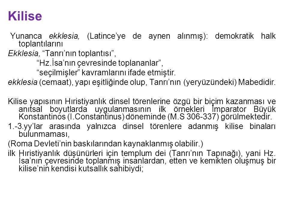 Kilise Yunanca ekklesia, (Latince'ye de aynen alınmış): demokratik halk toplantılarını. Ekklesia, Tanrı'nın toplantısı ,
