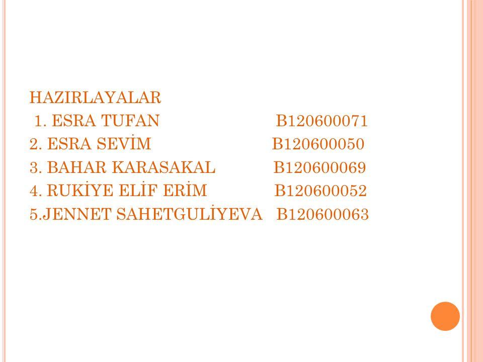 HAZIRLAYALAR 1. ESRA TUFAN B120600071 2. ESRA SEVİM B120600050 3