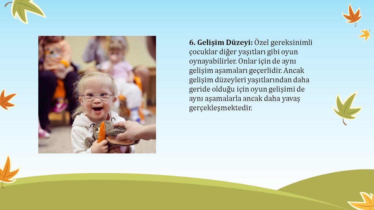 6. Gelişim Düzeyi: Özel gereksinimli çocuklar diğer yaşıtları gibi oyun oynayabilirler.