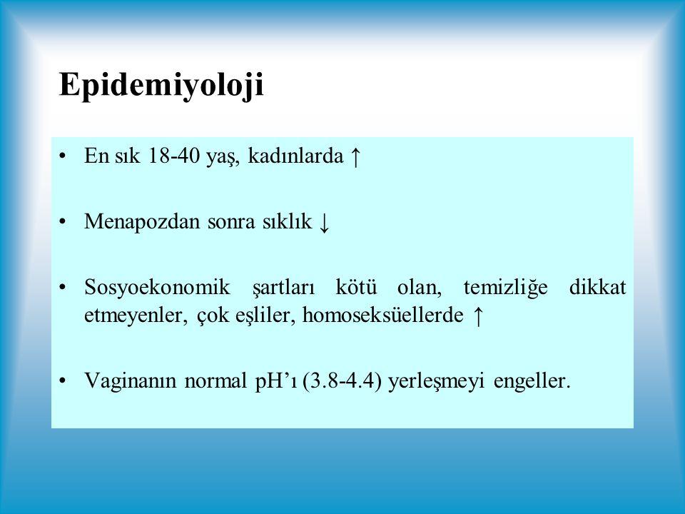 Epidemiyoloji En sık 18-40 yaş, kadınlarda ↑ Menapozdan sonra sıklık ↓