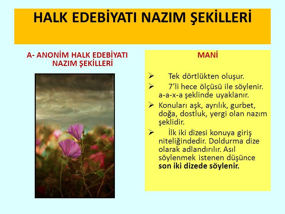 HALK EDEBİYATI NAZIM ŞEKİLLERİ