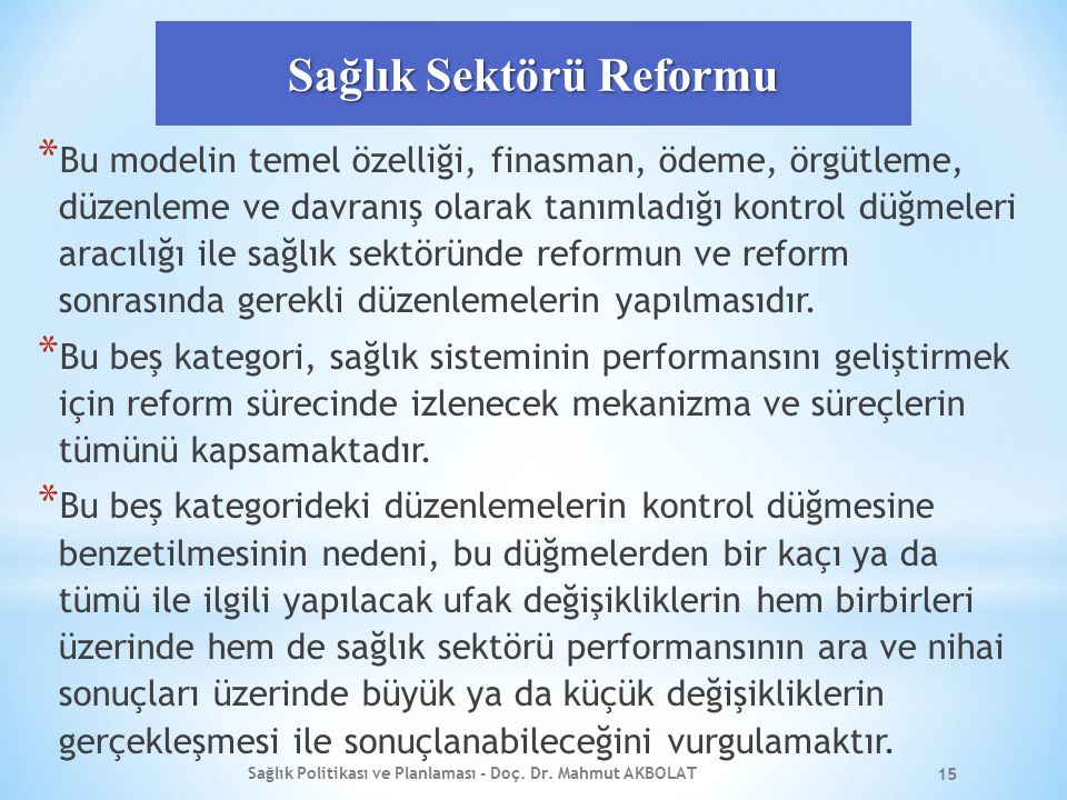Sağlık Sektörü Reformu
