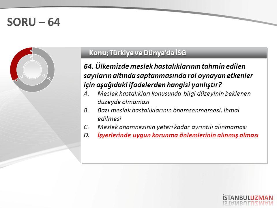 SORU – 64 Konu; Türkiye ve Dünya'da İSG