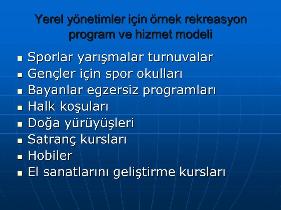 Yerel yönetimler için örnek rekreasyon program ve hizmet modeli