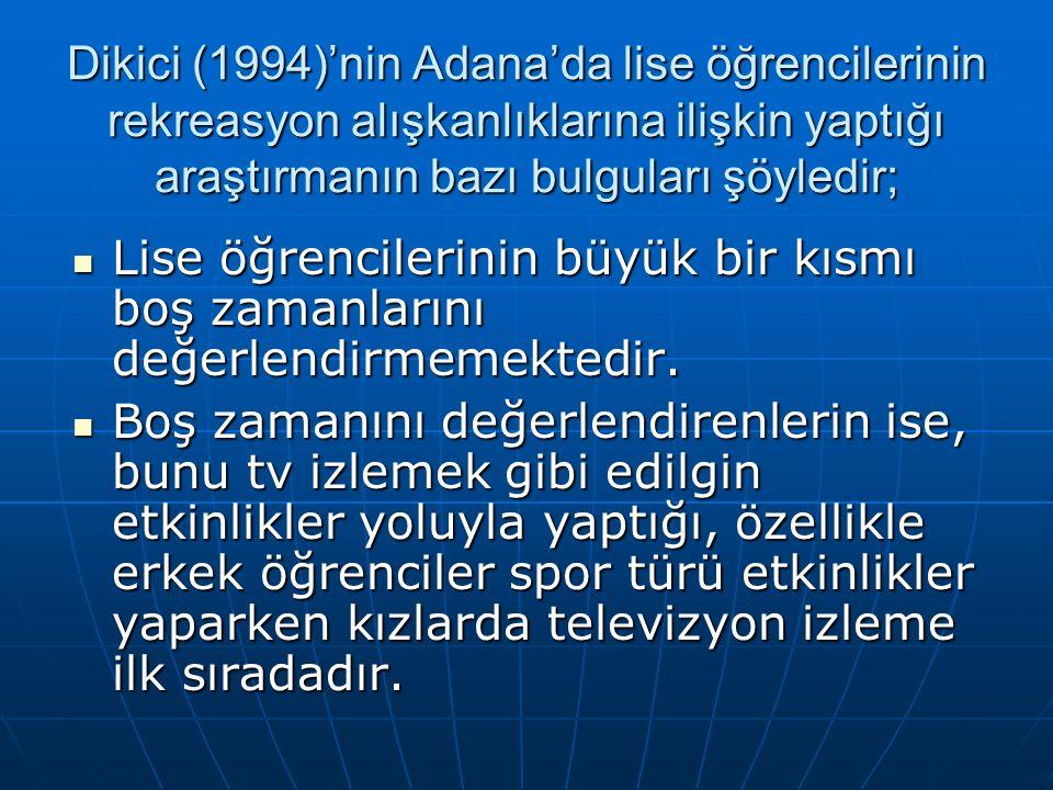 Dikici (1994)'nin Adana'da lise öğrencilerinin rekreasyon alışkanlıklarına ilişkin yaptığı araştırmanın bazı bulguları şöyledir;