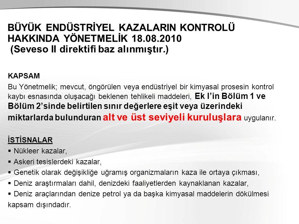 BÜYÜK ENDÜSTRİYEL KAZALARIN KONTROLÜ HAKKINDA YÖNETMELİK 18. 08