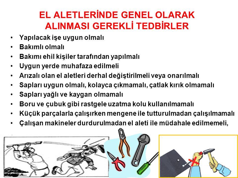 EL ALETLERİNDE GENEL OLARAK ALINMASI GEREKLİ TEDBİRLER