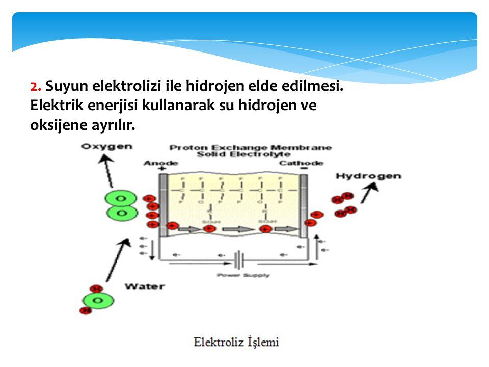 2. Suyun elektrolizi ile hidrojen elde edilmesi