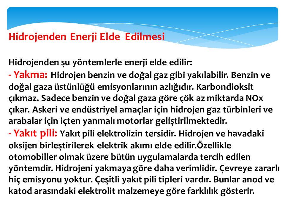 Hidrojenden Enerji Elde Edilmesi