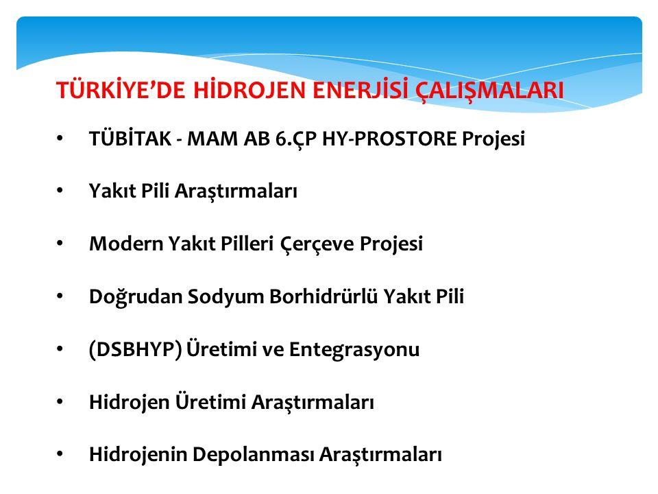 TÜRKİYE'DE HİDROJEN ENERJİSİ ÇALIŞMALARI