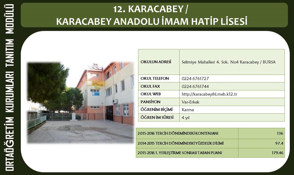 12. KARACABEY / KARACABEY ANADOLU İMAM HATİP LİSESİ