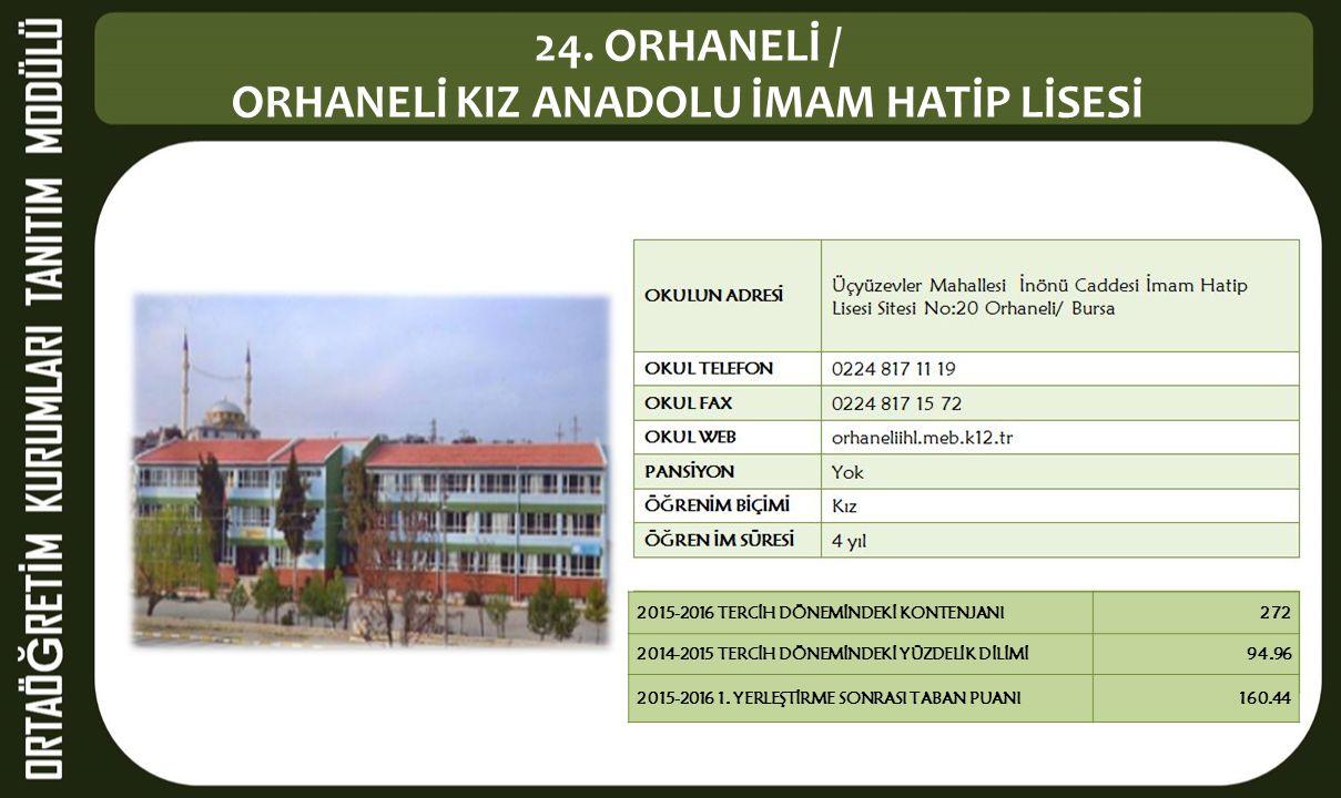 24. ORHANELİ / ORHANELİ KIZ ANADOLU İMAM HATİP LİSESİ